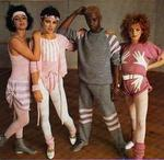 Frances Wingate (2nd from left) with Amanda Abbs, Floid and an unknown modelling knitting patterns, circa 1984