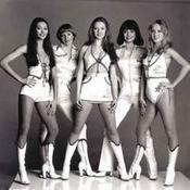 The Members of Love Machine pose for a photo. Left to Right: Claire Lutter, Libby Roberts, Lorraine Doyle (Greening), Teresa Lucas and Jane Eve (Colthorpe).