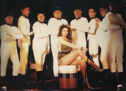 Standing, from left:  Johnny Hutch, Gary O'Bee, Derek Deadman, Benny, Jon Jon Keefe, Duncan Pettigrew, Bob Todd and Henry McGee.  April 27, 1988 'Club Chic-a-Go-Go' Sketch